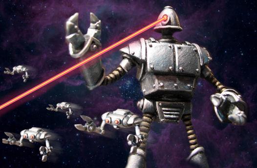 Sachez que les robots, ils ont des rayons laser eux !