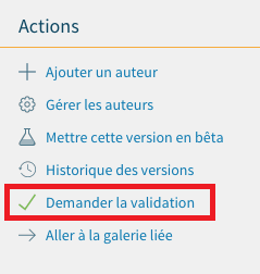 Image illustrant une demande en validation