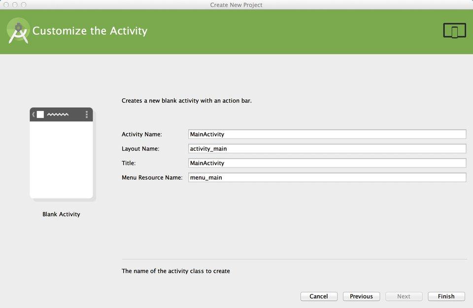 Personnalisation des informations sur l'Activity choisie précédemment