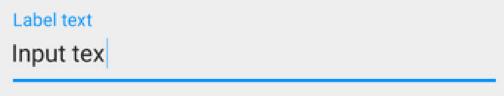 Le label d'un EditText bouge quand le curseur est placé dessus. Crédit : Google