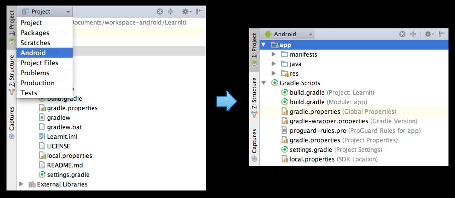 Passer de la vue Project à la vue Android