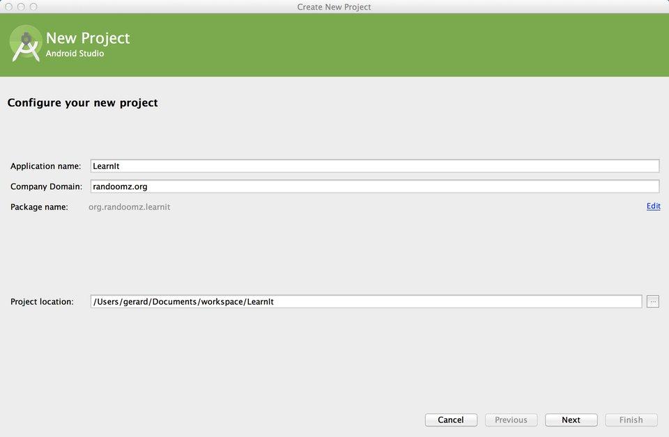 Configurez votre nouveau projet Android avec son nom et sa localisation