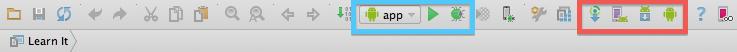 Toolbar d'Android Studio avec ses raccourcis spécifiques pour Android