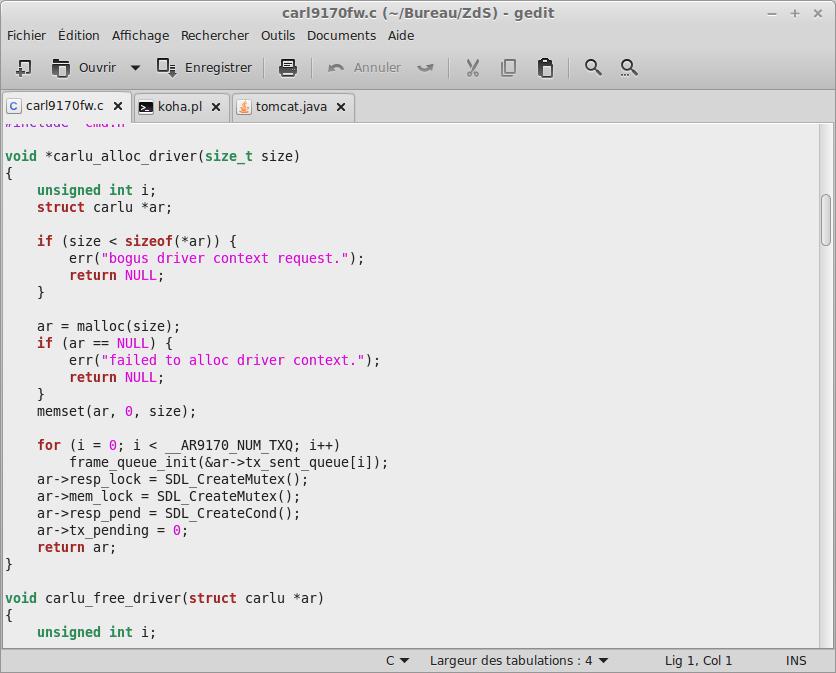Code source en C sous gedit.