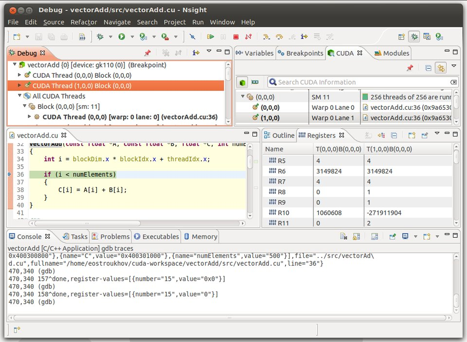 Capture d'écran de CUDA-gdb.