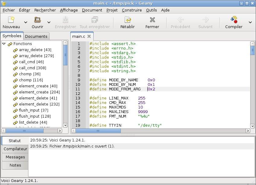 Capture d'écran de Geany.