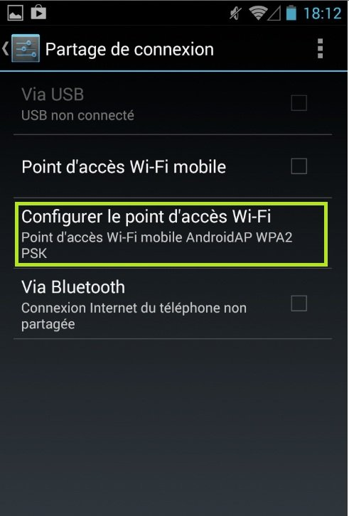 "L'option ""Configurer point d'accès Wi-Fi"""