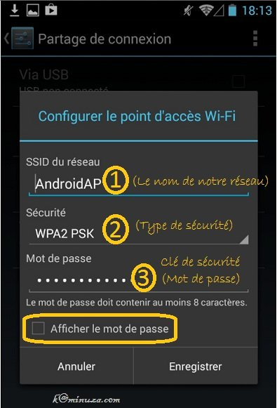 "Le sous-menu de l'option ""Configurer point d'accès Wi-Fi"""