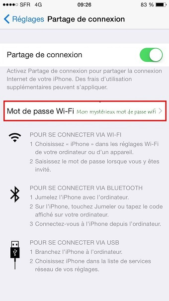 L'option de modification du mot de passe