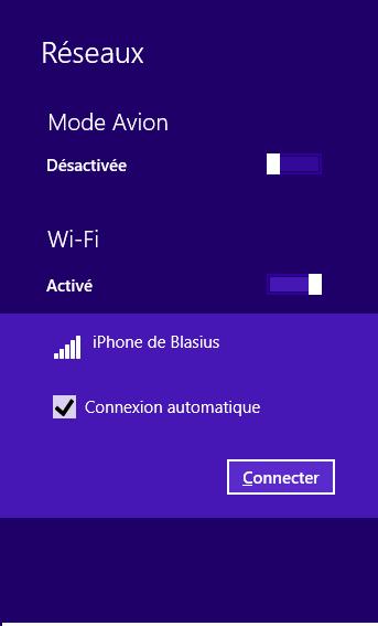 Mon iPhone apparaît dans liste des réseaux
