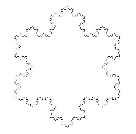 Un exemple de flocon de Von Koch avec 3 étapes.