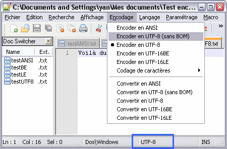Le menu des encodages dans Notepad++