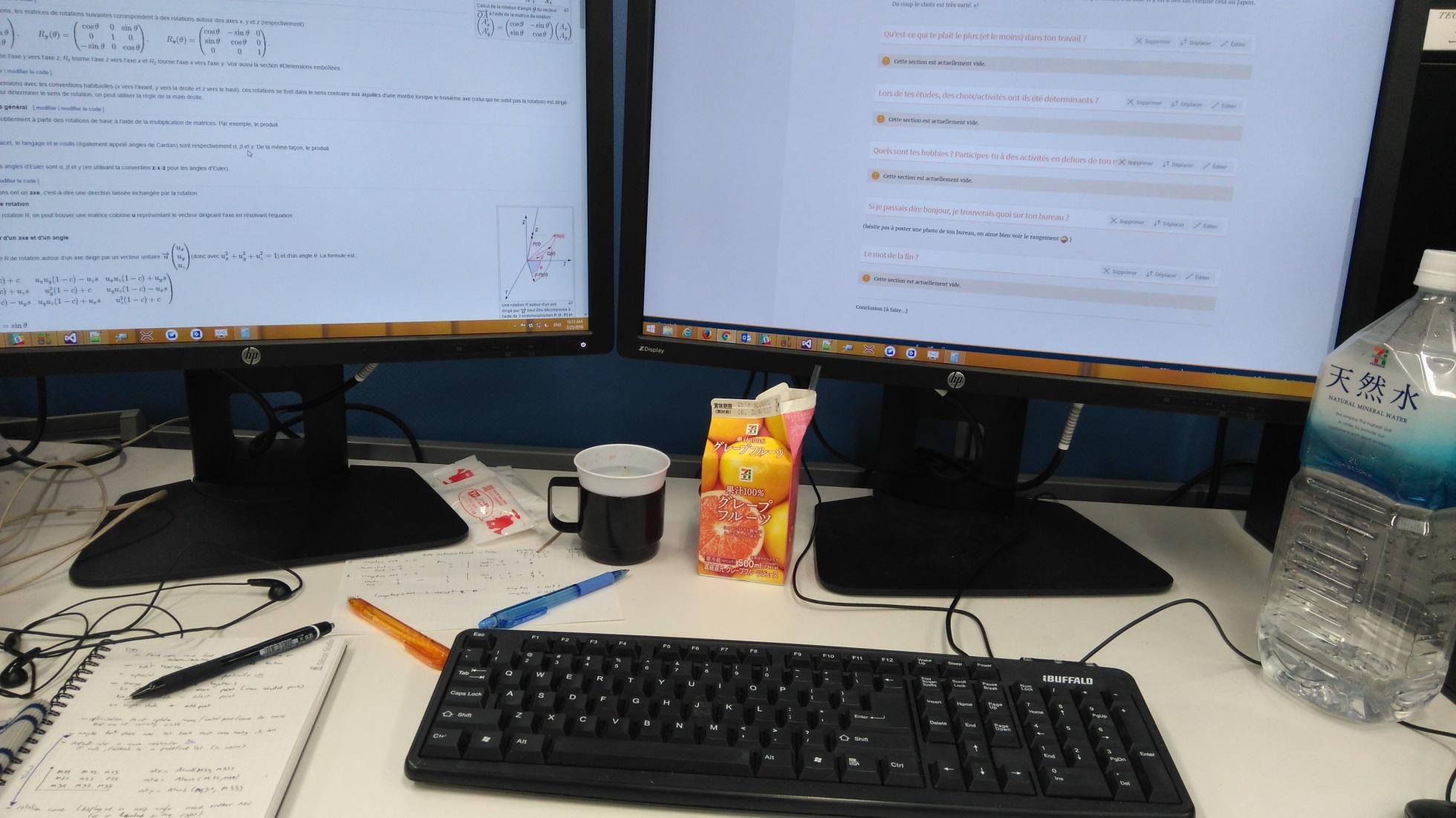 Mon bureau au travail à Silicon Studio