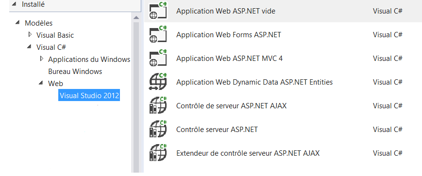 Liste des applications dans l'ancienne version
