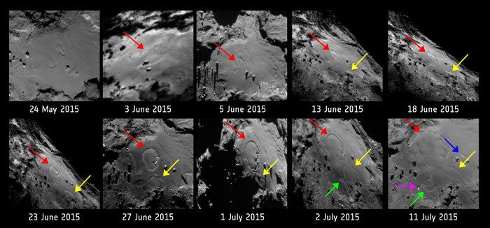 Région d'Imhotep, entre le 24 mai et le 11 juillet. On voit le paysage se modifier suite à l'activité de la comète.