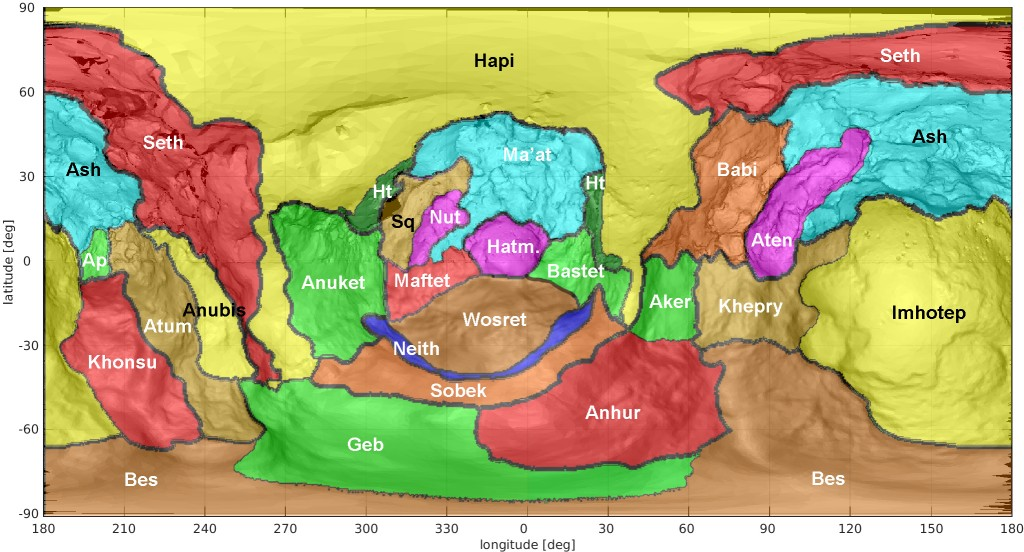 Les différentes zones de l'hémisphère sud de Tchouri.