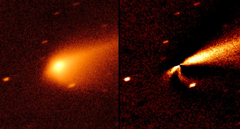 À gauche, la chevelure vue depuis la Terre. À droite, la même image dont on a retiré la partie symétrique, afin de mettre en évidence les orientations particulières de la chevelure, dues au vent solaire. Dans chacune des deux images, le Soleil est à gauche.