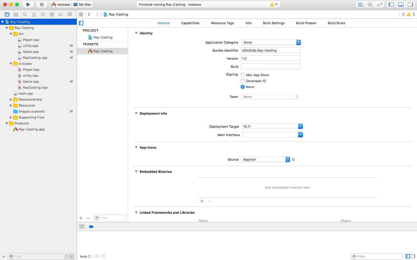 options Xcode