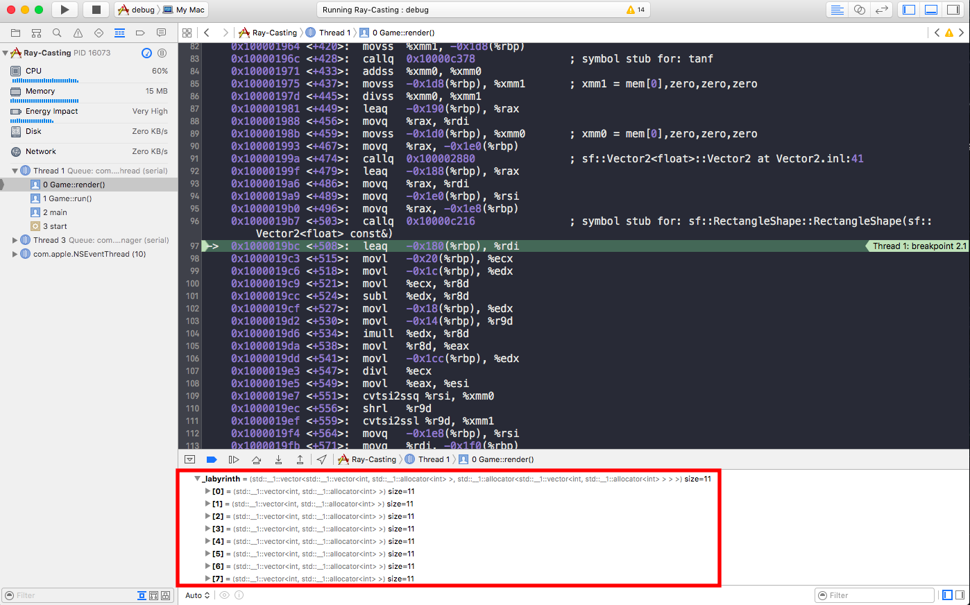 debugger de l'app lancée depuis Xcode