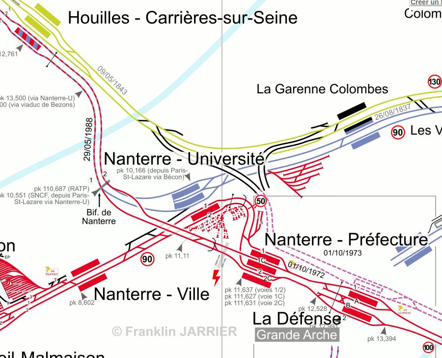 Il y a bien une correspondance entre la ligne A et la ligne L (celle en bleu) à Nanterre-Université, mais sur la branche de Saint-Germain-en-Laye (celle qui va à Nanterre-Ville). Le but est de créer des quais sur la branche de Cergy (celle qui va à Houilles).