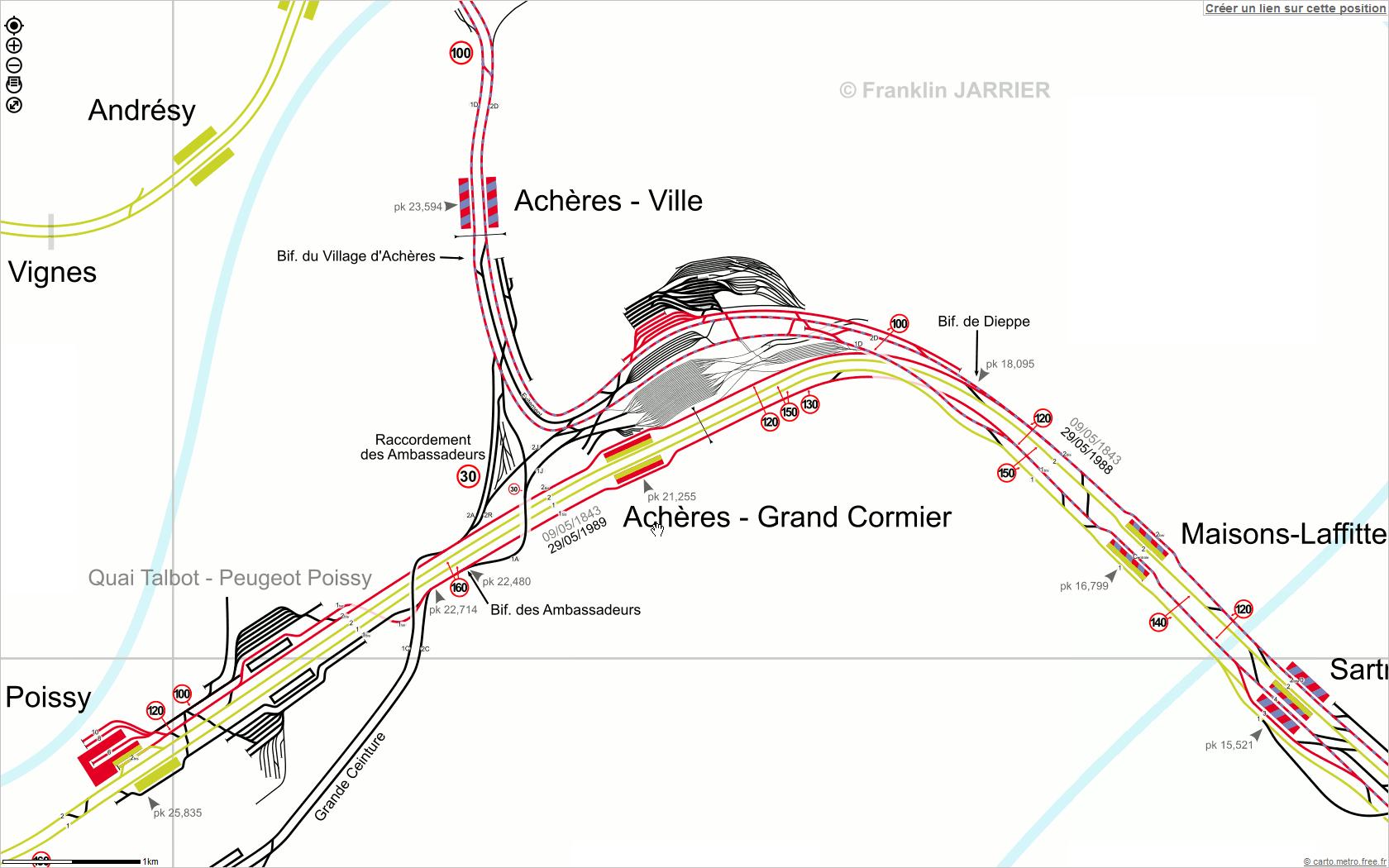 On voit bien que le RER A, dans la direction de Cergy, quitte la ligne de Paris - Normandie après la gare de Maisons-Laffitte pour se diriger vers la gare de Achères-Ville.