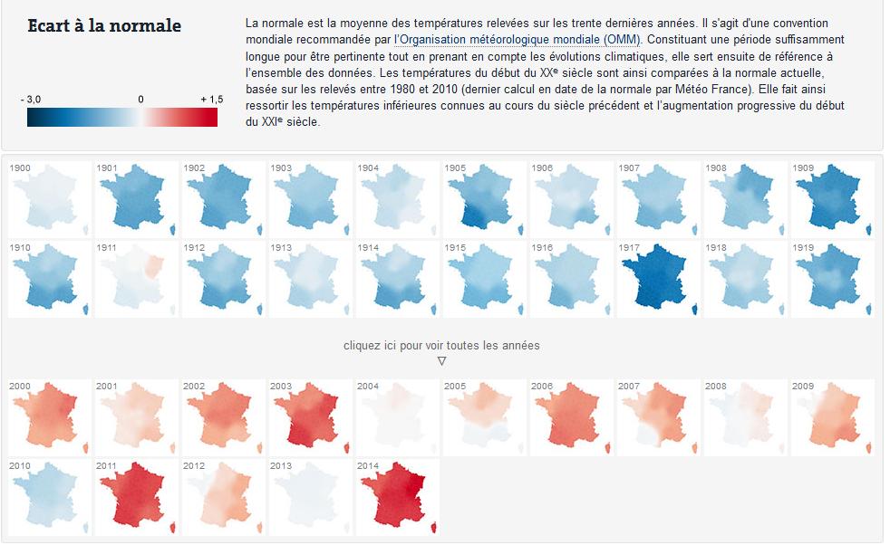 Exemple de carte diachronique — Comment le climat de la France s'est réchauffé depuis 1900 — lemonde.fr