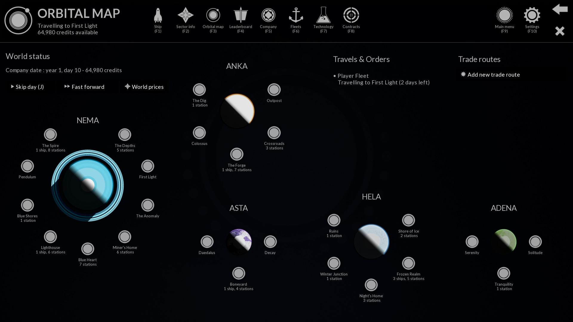 La carte orbitale, avec tous l'univers du jeu