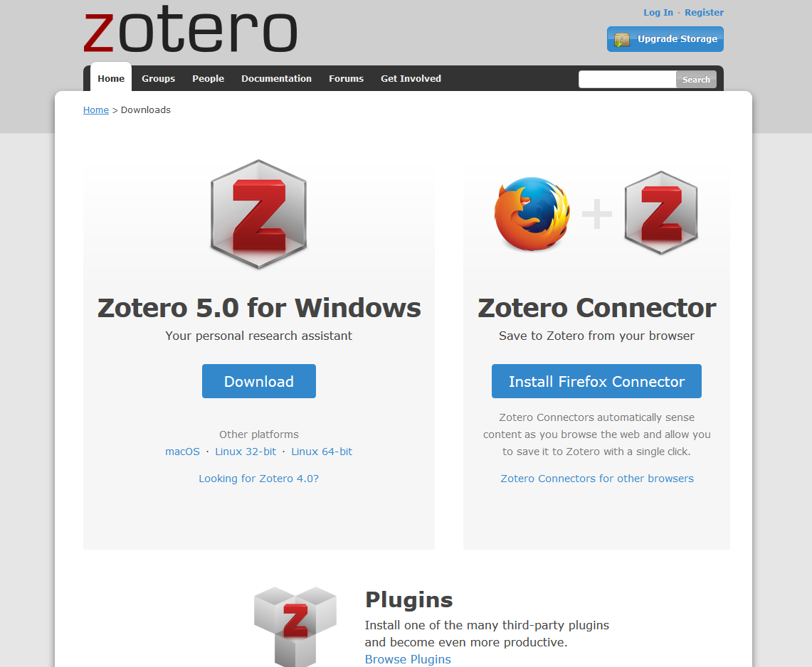 [Page de téléchargement de Zotero](https://www.zotero.org/download/)