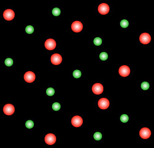L'organisation des atomes dans du sel de table. Les atomes de chlore et de sodium s'alternent sur une grille cubique.