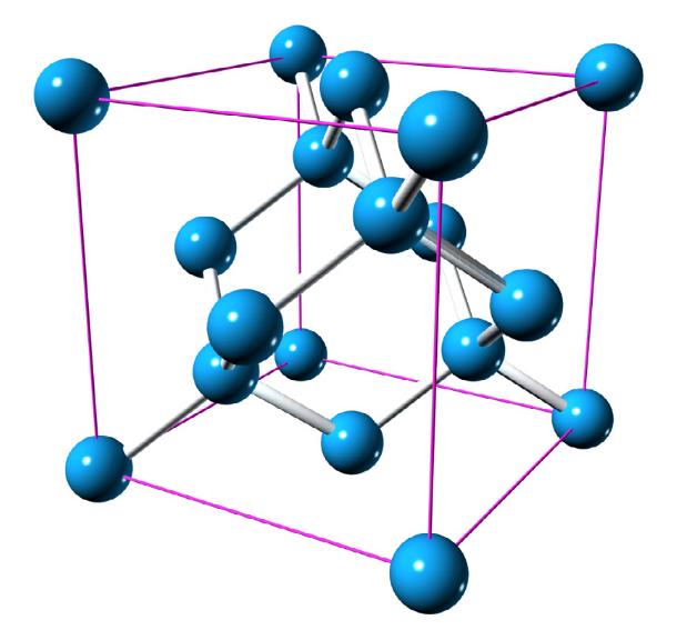 Dans un cristal de silicium, se répètent des cubes formés par huit atomes de silicium en chaque coin, contenant à l'intérieur une sous-structure un peu complexe composée de dix autres atomes, quatre d'entre eux étant sur les faces du cube.