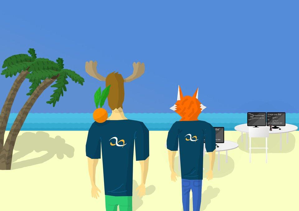 Avec Spacefox sur la plage des developpeurs