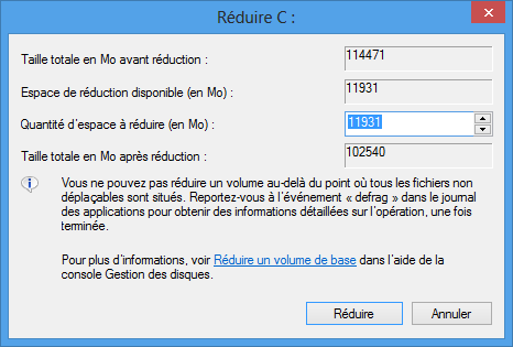 Réduction de la partition C