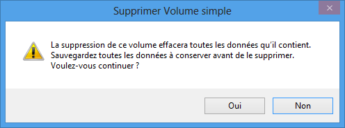 Avertissement avant la suppression d'une partition
