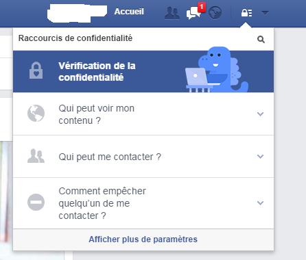 La fenêtre de gestion de confidentialité